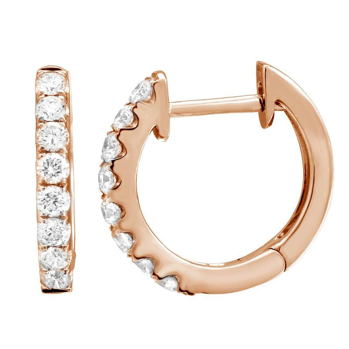 14k Rose Gold Diamond Huggy Earrings
