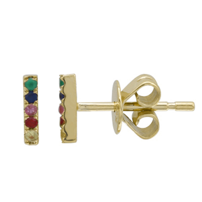 14k Yellow Gold Mini Rainbow Gemstone Bar Earrings