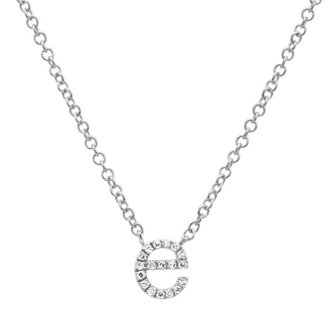 14k White Gold Diamond E Necklace