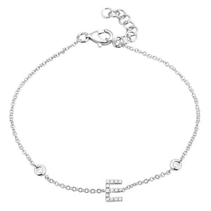 14k White Gold Diamond Initial Bracelet