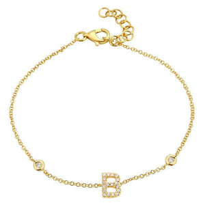 14k Yellow Gold Diamond Initial Bracelet- 7mm
