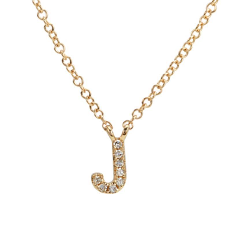 14k Yellow Gold Diamond Initial Pendant