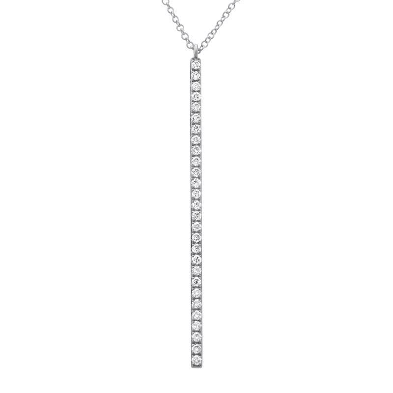 14k White Gold Diamond Stick Pendant