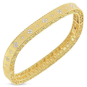 Roberto Coin Slim Bangle with Satin Finish and Fleur de Lis Diamonds