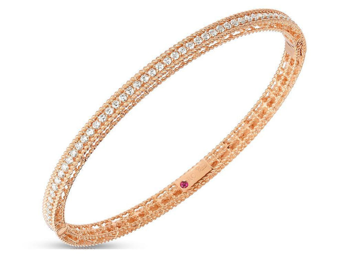 Roberto Coin Princess Oval Bangle with Diamonds