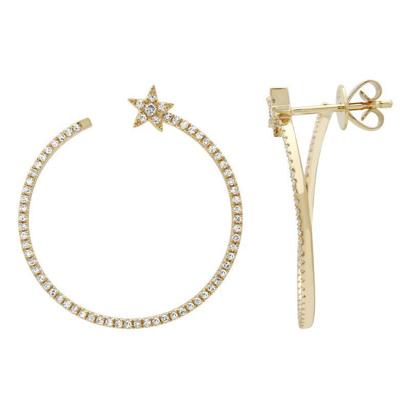 14k Yellow Gold Diamond Star Hoop Earrings