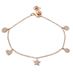 14k Rose Gold Diamond Dangle Bracelet