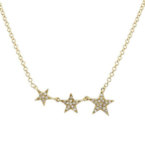 14k Yellow Gold Diamond Star Necklace