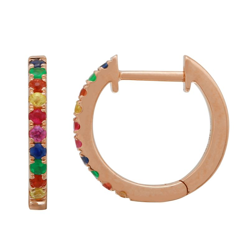 14k Rose Gold Rainbow Hoop Earrings