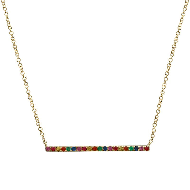 14k Yellow Gold Rainbow Bar Necklace