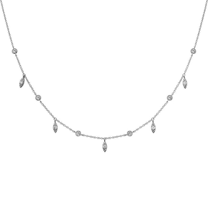 14k White Gold Diamond Dangle Necklace