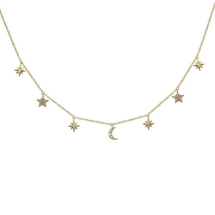 14k Yellow Gold Diamond Moon & Star Necklace