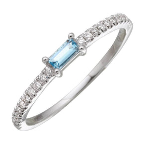14k Yellow Gold Diamond & Blue Topaz Ring