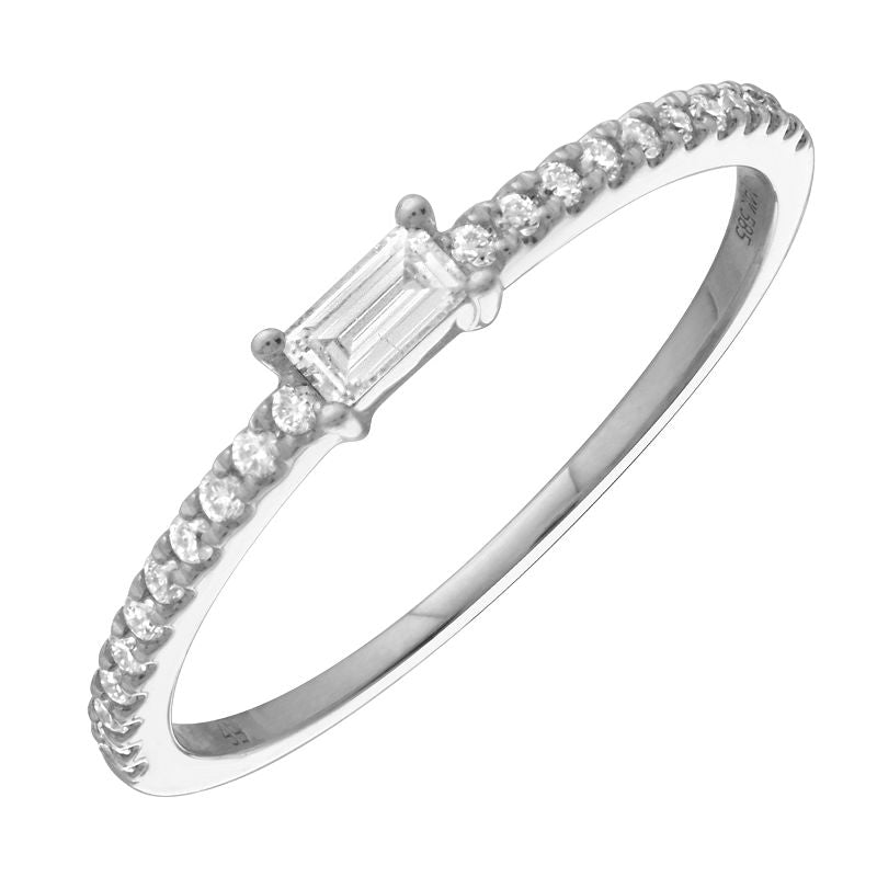 14k White Gold Baguette Diamond Ring