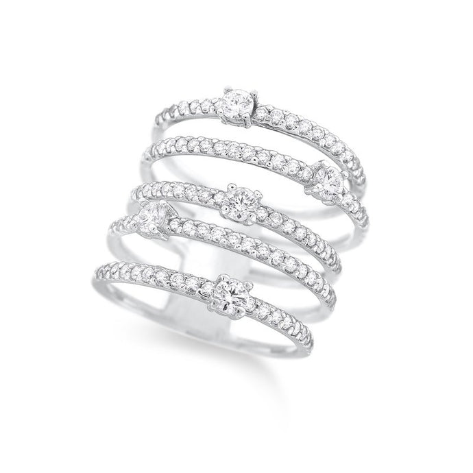 14k White Gold Multi Row Diamond Ring