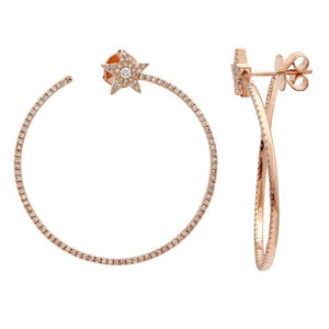 14k Rose Gold Diamond Star Hoop Earrings