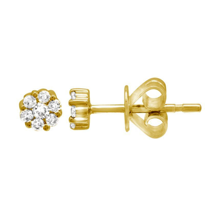14k Yellow Gold Diamond Cluster Studs