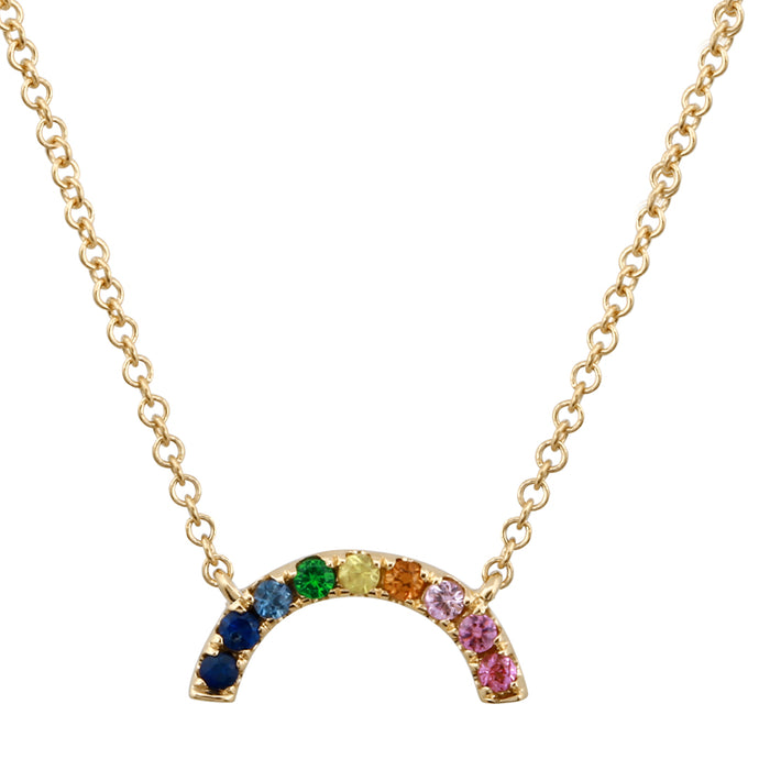14k Yellow Gold Rainbow Necklace