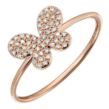 Load image into Gallery viewer, 14k Rose Gold Diamond Butterfly Ring
