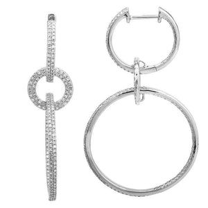 14k White Gold Diamond Link Earrings