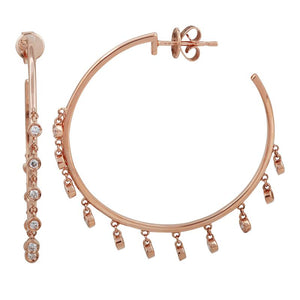14k Rose Gold Diamond Dangle Hoop Earrings