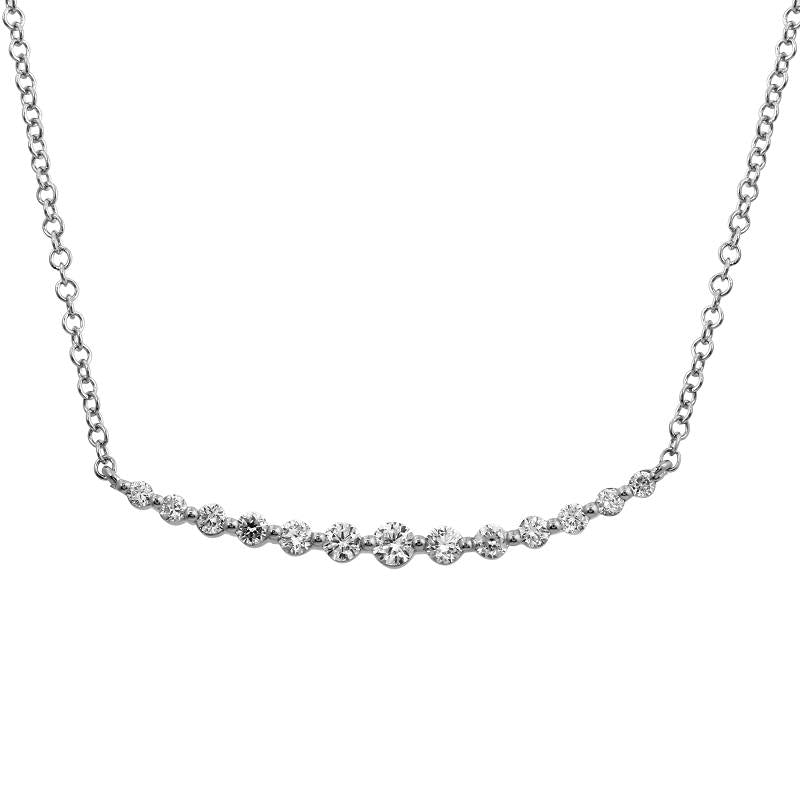 14k White Gold Prong Set Diamond Necklace