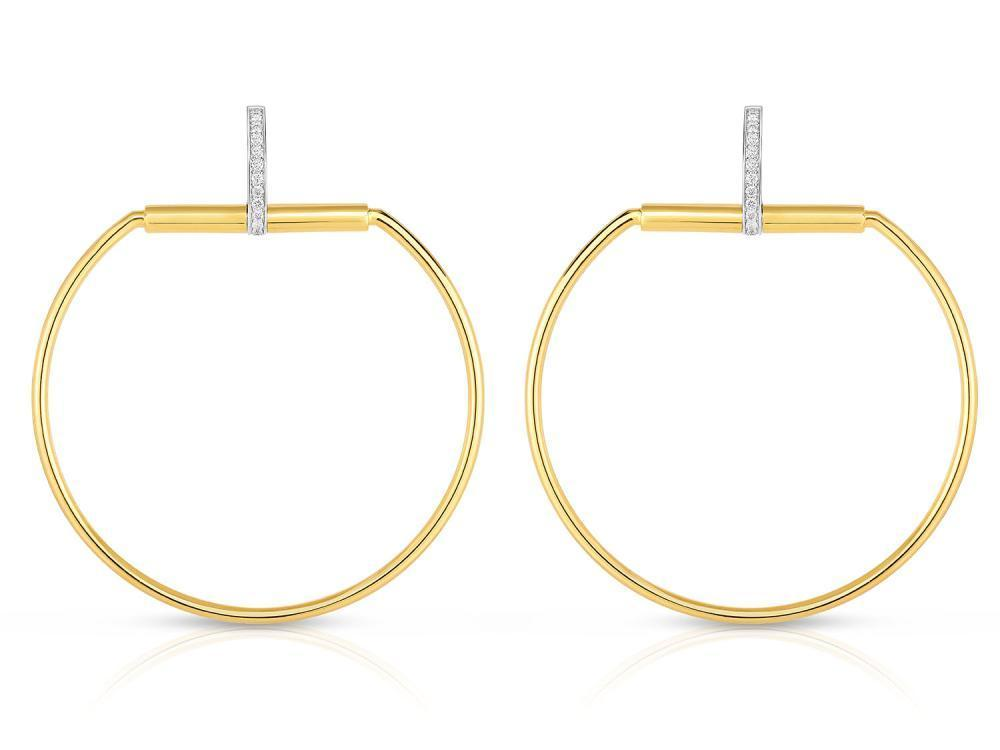 Roberto Coin 18K Yellow & White Large Round Stirrup Drop Earrings w. diamond accent