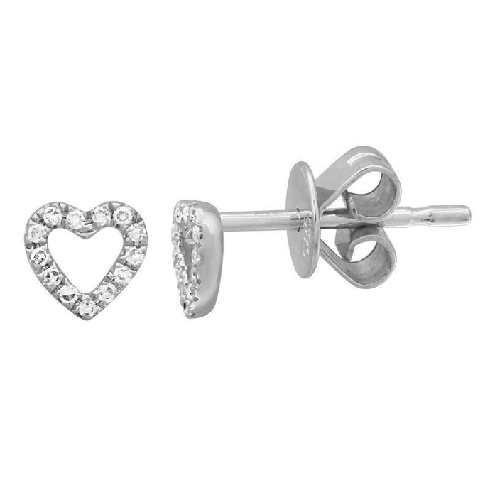 14k White Gold Diamond Heart Stud Earrings