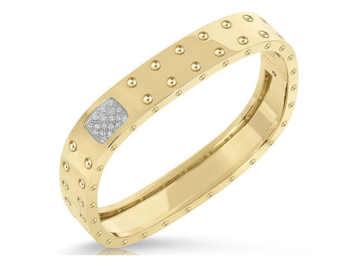 Roberto Coin 18k Yellow and White Gold 2 Row Bangle with Diamond Accent (M)