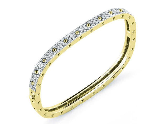 Roberto Coin 18k Yellow and White Gold 1 Row Pave Diamond Bangle (M)