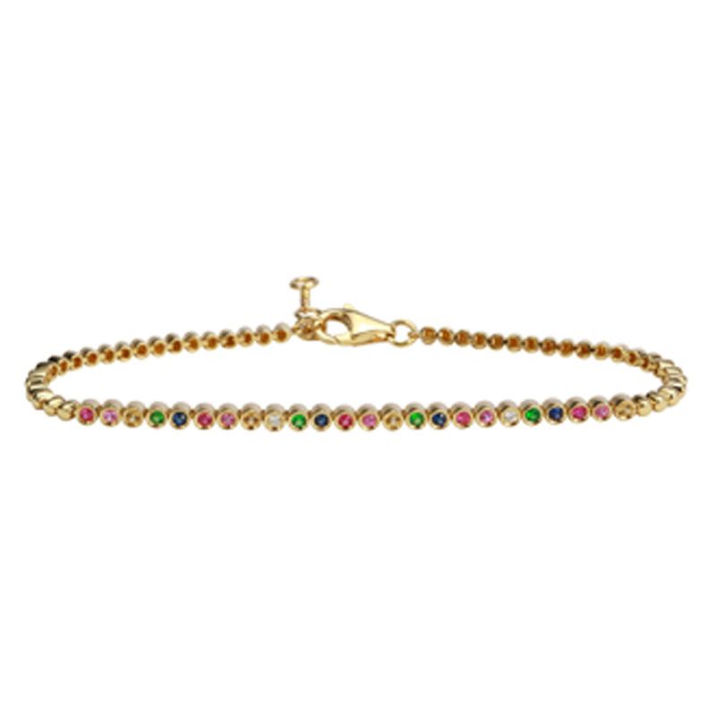 14k Yellow Gold Rainbow Bracelet