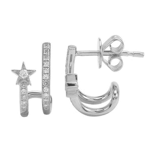 14k White Gold Diamond Star Huggy Earrings