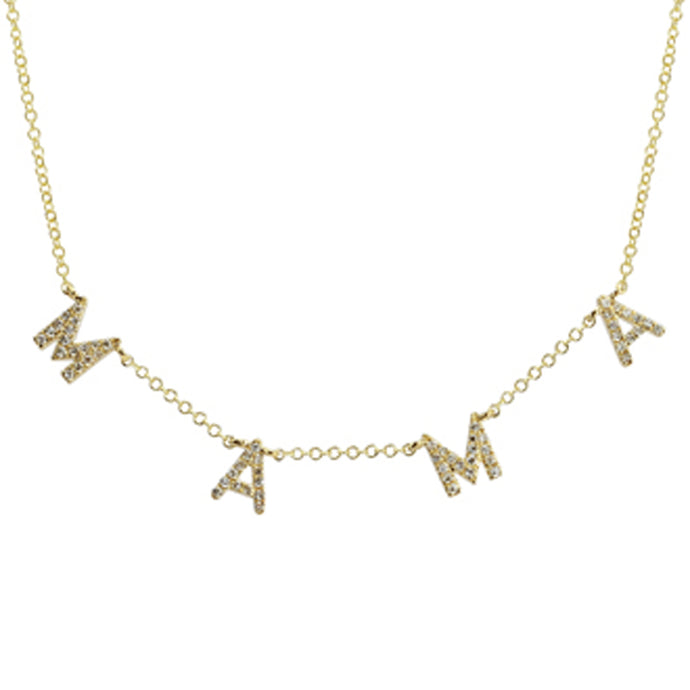 14k Yellow Gold Diamond MAMA Necklace