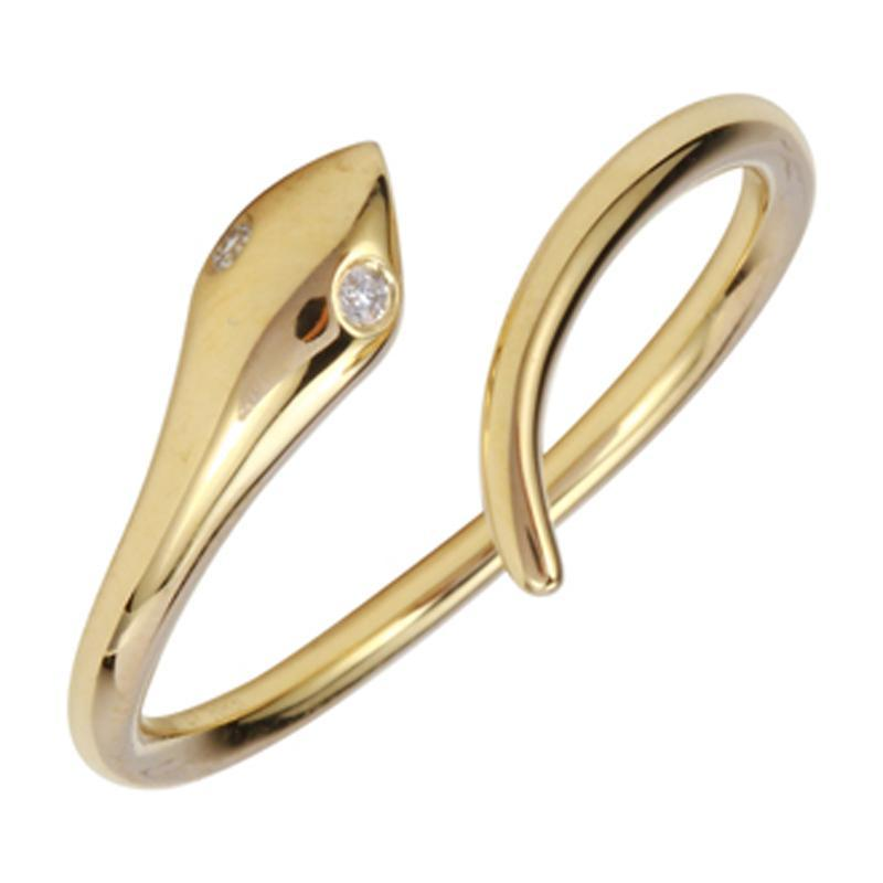 14k Yellow Gold Diamond Snake Rings