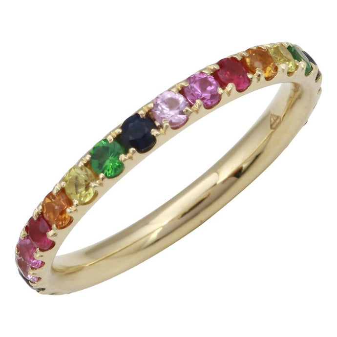 14k Yellow Gold Rainbow Ring