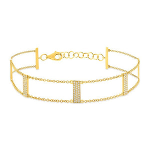 14k White Gold Diamond Ladder Bracelet