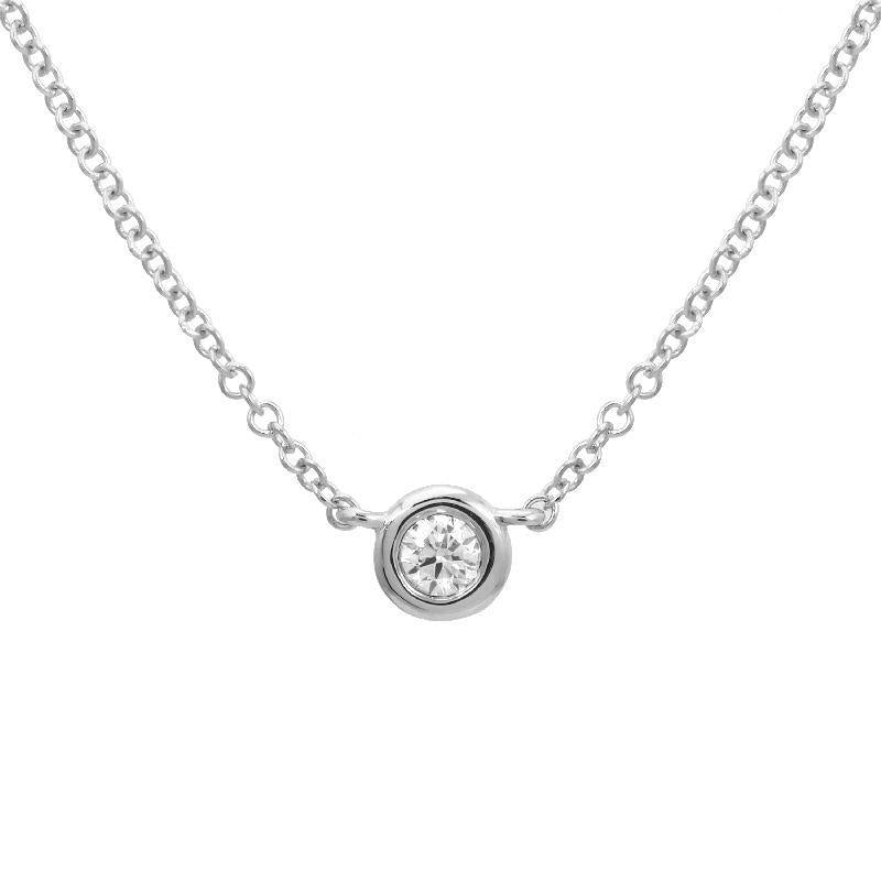 14k White Gold Diamond Bezel Pendant