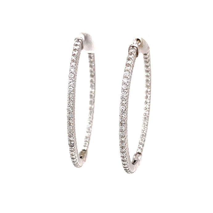 98 1.89ct 18k white gold diamond hoops