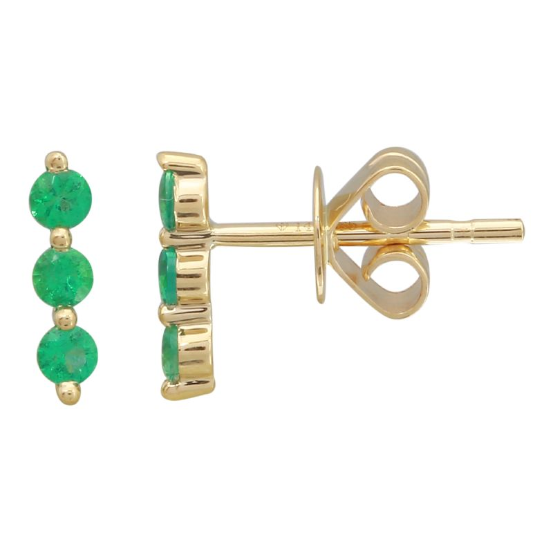 14k Yellow Gold Emerald Stud Earrings