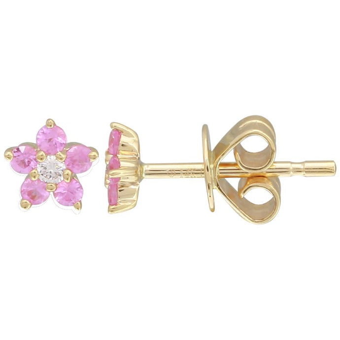 14k White Gold Pink Sapphire Flower Earrings