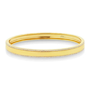 14k Gold Diamond ID Bangle