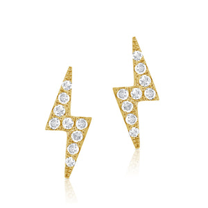 14k Yellow Gold Diamond Lightning Bolt Stud Earring H L Gross