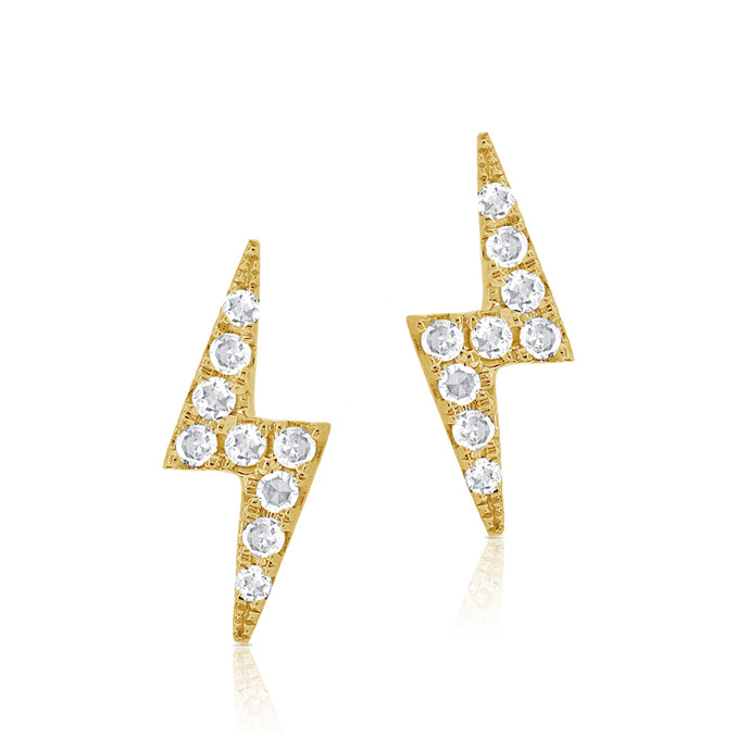 14k Yellow Gold Diamond Lightning Bolt Stud Earring