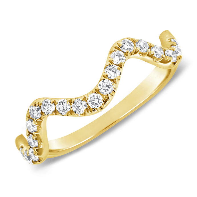 14k Yellow Gold Diamond Zig Zag Ring