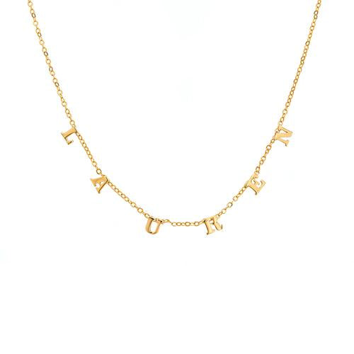 14k Yellow Gold Small Block Letter Necklace