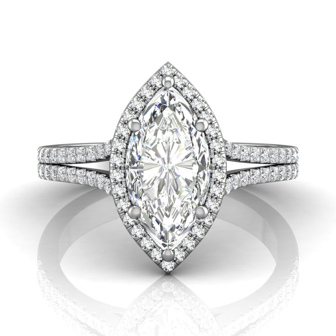 Martin Flyer Pave Split Shank Diamond Engagement Ring