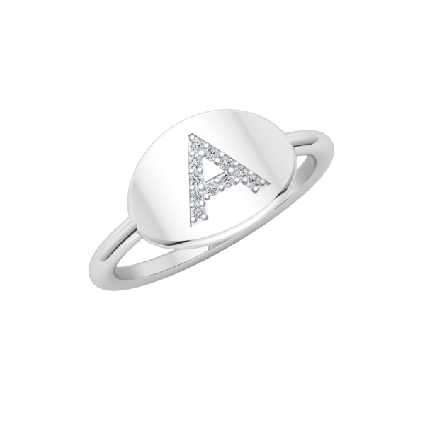 14k White Gold Diamond Initial Ring