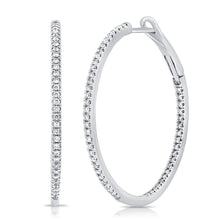Load image into Gallery viewer, 14k White Gold Diamond Hoop Earrings