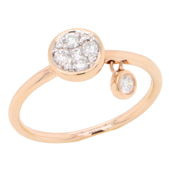 18K Rose Gold Diamond Charm Ring