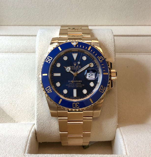 Pre-Owned 18k Gold Rolex Submariner - Blue Dial - Model 116618